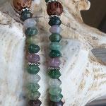 Lange Boho Ethno Jaspiskette Jaspis Perlenhalskette Perlenkette Rhonda mit Jaspisperlen, Kokosperlen, silbernen Blumenrondellen, Kugel Anhänger Blume des Lebens