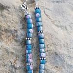 Ethno Boho Indianer Perlen Halskette Moorea mit  4mm Kokosrondellen türkis-silber, Silber Traumfänger-Anhänger und Blumen Metallperlen