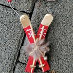 Weihnachts Adventsgirlande Weihnachtsdekoration Schwemmholz Treibholz Girlande Mobile Windspiel Tür-, Fensterdeko mit Skianhänger goldenen Sternensstaub Metallperlen