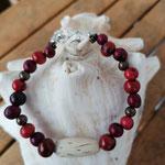 Damen Armkette Perlenarmette Perlenarmband Ethno Boho Arlen mit roten Acai-Samenperlen, runden bronzefarbenen Acrylperlen und ovaler Holzperle