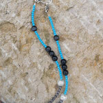 Lange Ethno Boho Retro Halskette Perlenhalskette Lakota mit Quasten Anhänger Velours dunkelbraun, türkis Jadeglasperlen facettiert, Katzenaugen Glasperlen 8mm anthrazit und 4mm taubengrau