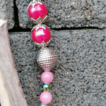Schwemmholzgirlande Treibholzdesign Mobile Windspiel Wohn Accessoire Wohnschmuck Muttertagsgeschenk mit Schmetterlingsanhänger weiss rosa, pinken Acrylperlen, rosa Glasperlen, Drahtsilberperle