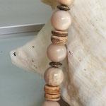 Perlen Halskette Perlenkette Edelstein Heilstein Cullodena mit 14mm Mondstein Perlen, Kokosrondellen, Bronze Metallrondellen und Karabinerverschluss