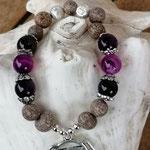 Mala Armband Armkette Kette Charu mit violetten Achatperlen, Samenperlen, Perlenkappen Antiksilber, Yoga-Chakra-Anhänger Ajna 3. Auge