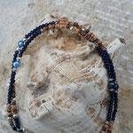 Lange Perlenhalskette lange Perlen Halskette Quaste Retro Ethno Boho Hemera mit dunkelbraunem Quastenanhänger Velour, glänzenden nachtblauen Jade Glasperlen verziert, Zuchtperlen dunkelblau