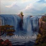 Traudes Wasserfall (Gemeinschaftswerk mit Traude Fuchs), 40x40, Öl