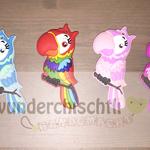 Papageien (mint, babyblau, farbig, rosa, pink, pastellgelb)