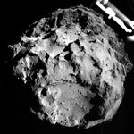 Aufgenommen am 12.11. durch Philae's ROLI-System beim Anflug auf den Kometen aus ca. 3 Kilometern Höhe. (Credit: ESA/Rosetta/Philae/ROLIS/DLR)
