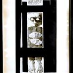 Titolo opera: s.t. Codice: 030 D, Pietro Gatti , 1964, Italia, carta, incisione 3/15 ,35x50 cm. Stile: informale, concettuale, citazione nel quadro: …il tempo mi appare come una cosa corpulenta da quando lo spazio non esiste più per me…