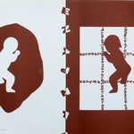 092 A, Amato Oreste, Ominidi (cover album), 1971, carta CM Fabriano 100/100 cotone 300 gr., litografia 30/50, 50x70, magazzino temp. costante in scatola di legno D