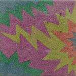 """055 D Porcelli Antonio,""""Mr Z"""",  1985 Italia legno collage di brillantina di vetro 38x38 cm."""