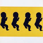 092 E, Amato Oreste, Ominidi (cover album), 1971, carta CM Fabriano 100/100 cotone 300 gr., litografia 30/50, 50x70, magazzino temp. costante in scatola di legno D