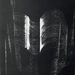 """056 B Prestento Giustina, """"Omar"""", 1992 Italia cartoncino nero Litografia 58/81 realizzata sulla musica di Franco Donatoni 34x40 cm."""