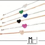 Bracciali doppia catena con inserto zirconato color