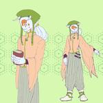 シノノメ。初描きの際に描いた服装で、うみくらいの身長の予定でしたが、もっと体格ががっしり、身長も高くなりました。