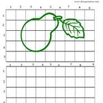 método de observación por cuadrícula numerada, dibujo pera entera