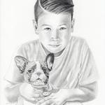 Liam & Hund, Bleistift (Auftragsarbeit)