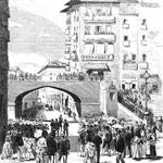 1872 El puente de Vargas desde La Ribera durante la llegada de Amadeo I a la ciudad. El dibujo del puente no se corresponde exactamente con el que en realidad había (véanse fotografías posteriores)