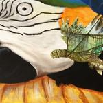 Papagei,  Acryl auf Leinwand. 40 x 60 cm.  100,00 €