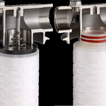 Example of a filter housing that accepts cartridges with two different types of end connections : DOE 222 and O-ring