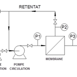 Diagram of a filtration system of ceramic membranes