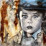 der Junge, 100x100 cm, Acrylmischtechnik