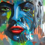 The Face 3, 100x100 cm, Acrylmischtechnik