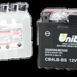 Unibat Wartungsfrei CB4LB-BS (12 V 4 AH) (50411), Maße in mm :(LxBxH) 120x70x92, Gewicht : 1,59 kg, Batterieleistung im kalten Zustand(CCA): 60