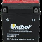 Unibat Wartungsfrei CBTX9A-BS (12 V 9 AH) (50812), Maße in mm :(LxBxH) 135x75x139, Gewicht : 2,6 kg, Batterieleistung im kalten Zustand(CCA): 130