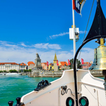 vom Bodensee aus Blick auf den Lindauer Yachthafen