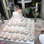 Suzanne en Pepijn, WeddingCupCakes and a small WeddingCake, Bruidstaart Den Bosch