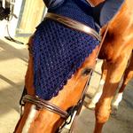 Bonnet cheval long, bleu marine, fait main,