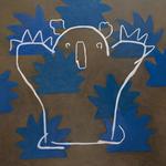 「こわいもの  なし」 油絵具、キャンバス/D1000×W1000