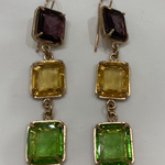 Orecchini Three Setting Hexagonal Earring Purple Gold Green