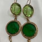 Orecchini Three Setting Rope Edge Round Earring Green Pearl