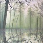 Forêt au bord d'un lac - Acrylique et huile sur toile (100x90cm)