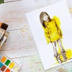 "Manteau jaune, Encre ""brou de noix"" et colorex, dessin de mode #fashionillustration #Inktober #Inktober2016"