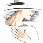 Femme au chapeau, feutre et aquarelle #fashionillustration #Inktober #Inktober2016