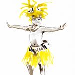 Danseur Hawaien - Aquarelle et Brou de noix #Inktober #Inktober2016