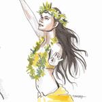 Danseuse Hawaienne - Feutre et aquarelle #Inktober #Inktober2016