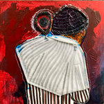 Disposable Stripes, FFP2, acrylic, ink, marker on gesso board, 20 x 20 x 3 cm, 2021