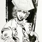 Disposable Cavallier, ink, FFP2, marker on paper, 30 x 40 cm, 2021