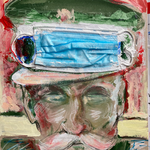 Disposable Officer, surgical mask, watercolor, acrylic, pencils on cardboard, 30 x 40 cm, 2021