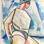 Disposable Swimmer, FFP2, watercolor, marker on paper, 30 x 40 cm