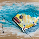 Disposable Fisch, FFP2, marker, acrylic on toned cardboard, 37 x 24 cm, 2021