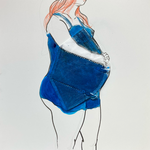 Disposable Pregnant Woman, FFP2, acrylic on gesso board, 30 x 30 cm, 2021