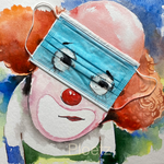 Disposable Clown, surgical mask, watercolor, marker, acrylic on paper, 30 x 40 cm, 2021 (sold, Germany)