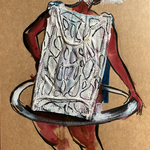 Disposable Holla-Hoop, surgical mask, acrylic, marker on toned cardboard, 37 x 24 cm, 2021 (sold)