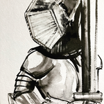Disposable Knight, FFP2 and ink on paper, 30 x 40 cm, 2021
