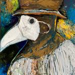 Disposable Dr Plague, FFP2, acrylic on PDF gesso board,  50 x 60 x 3 cm, 2021